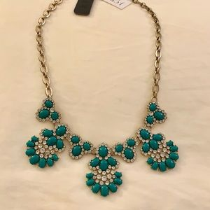 J. Crew Statement Necklace with Green Jewels
